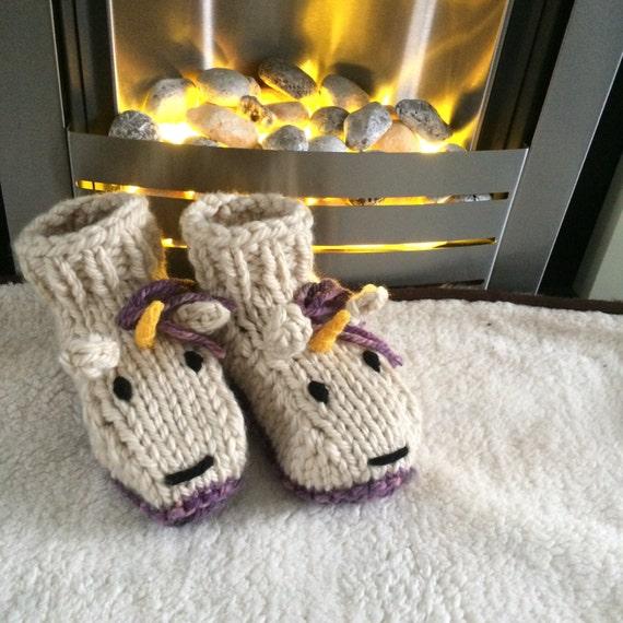 Einhorn-Hausschuhe Stricken Muster Tier Erwachsene Stiefel | Etsy