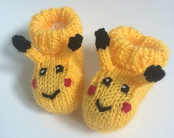 Pikachu knitted baby booties pokemon baby gift girl baby boy baby cute booties baby boots shoes socks