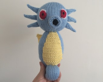 Horsea pokemon knitting pattern plushie toy childrens soft toy amigurumi knit knitted pdf download