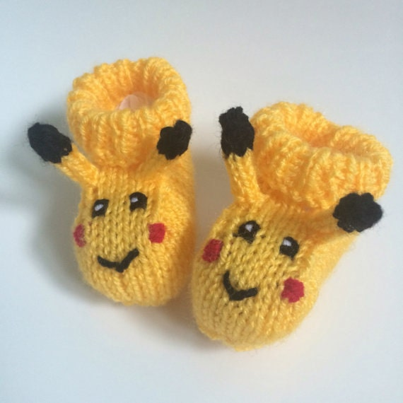Pikachu baby booties knitting pattern animal baby boots | Etsy