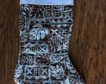 Brown Hawaiian-print Christmas Stocking with White Swirl-print Foldover Cuff