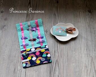 Birthday * bag, pouch to slip hair clip, elastic, cotton, Rainbow - custom