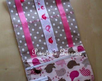 Birthday * pouch, clutch pins, elastic, cotton bird