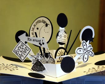 Hand-made in black and white pop-up greeting card