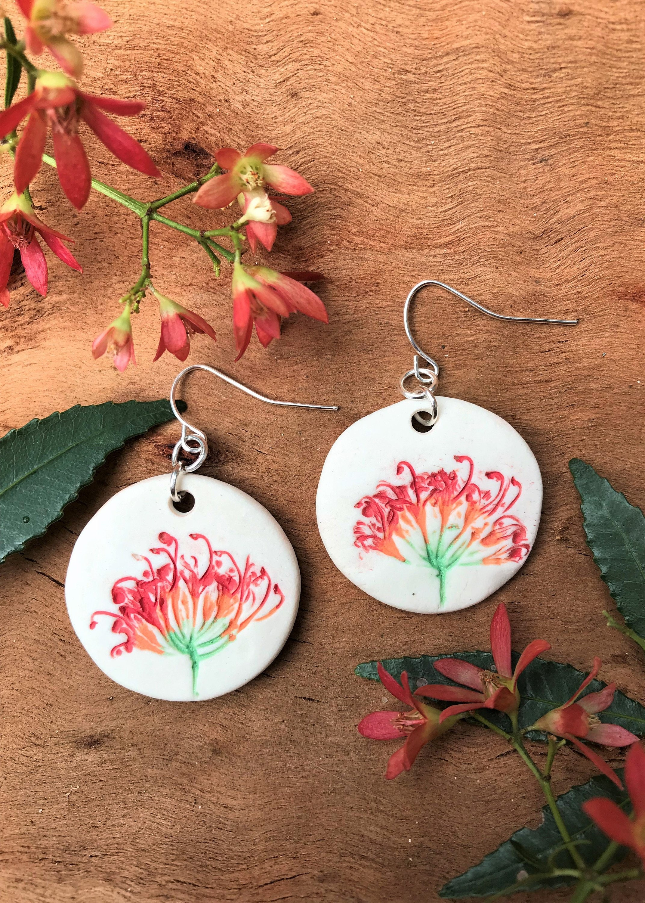 Grevillea flower Colourful Porcelain drop earrings with Grevillea flower  imprint. Loving gift Australian earrings. DECG