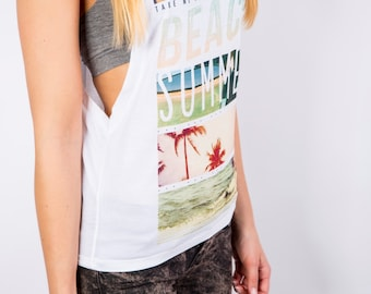 Beach Graphic Top - 1/3 of sales price is donated to a good cause!