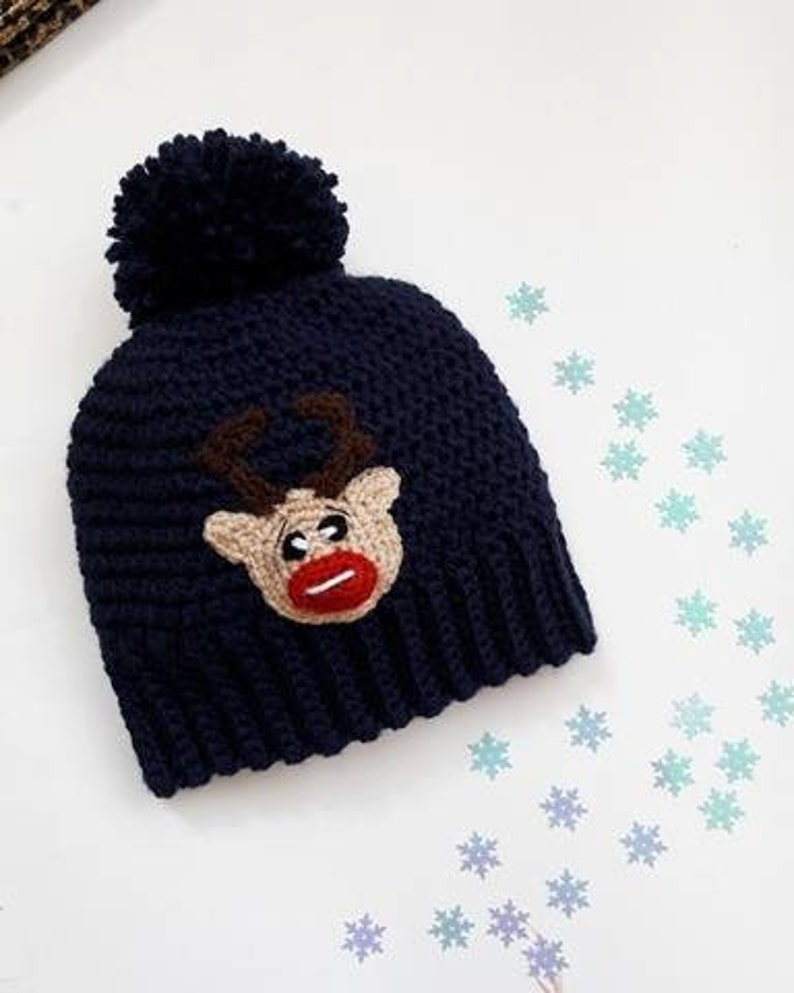 67c9ae9ffd687 Winter kids pom pom hat with reindeer applique Funny