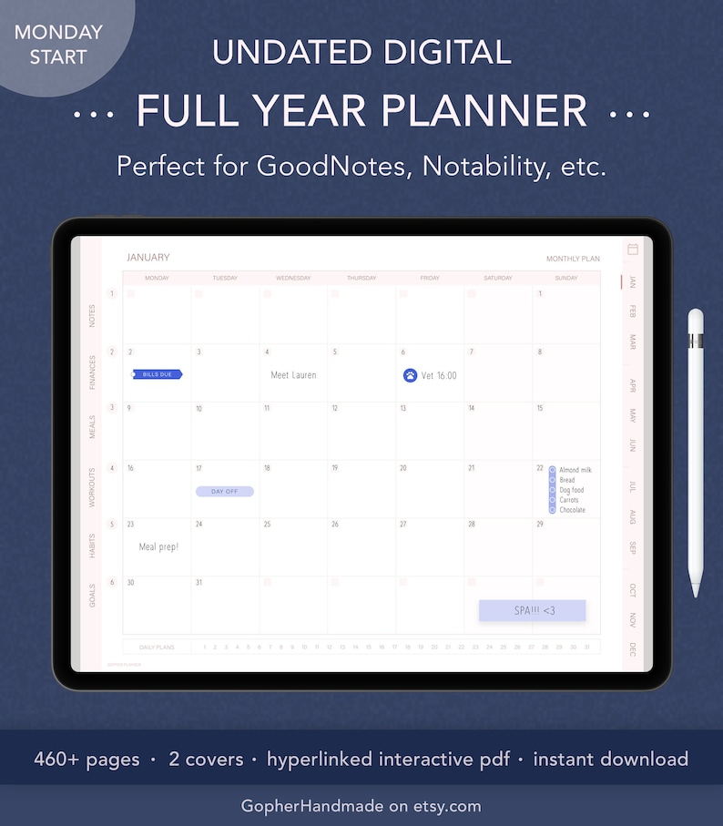 Digital Planner  Undated  Habit Tracker  Monthly Planner  image 0