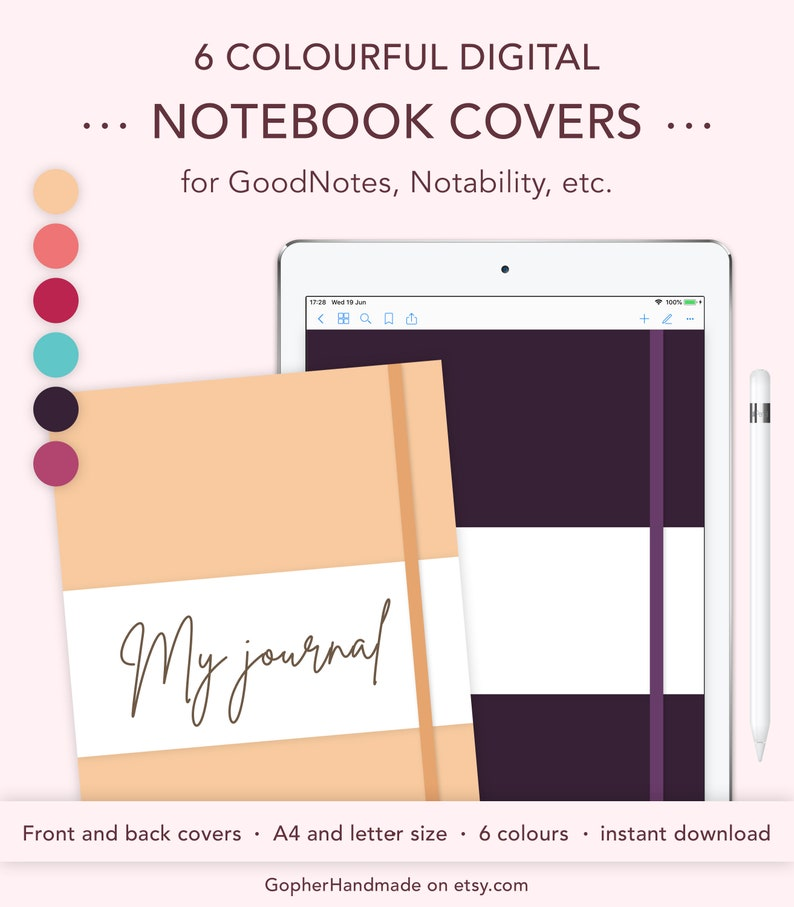 Digital Notebook Cover GoodNotes Template A4 & Letter image 0