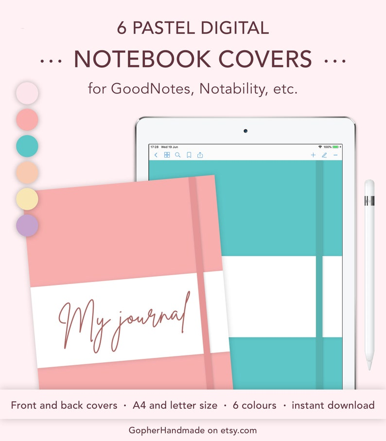 Digital Notebook Cover Template for GoodNotes Notability A4 image 0