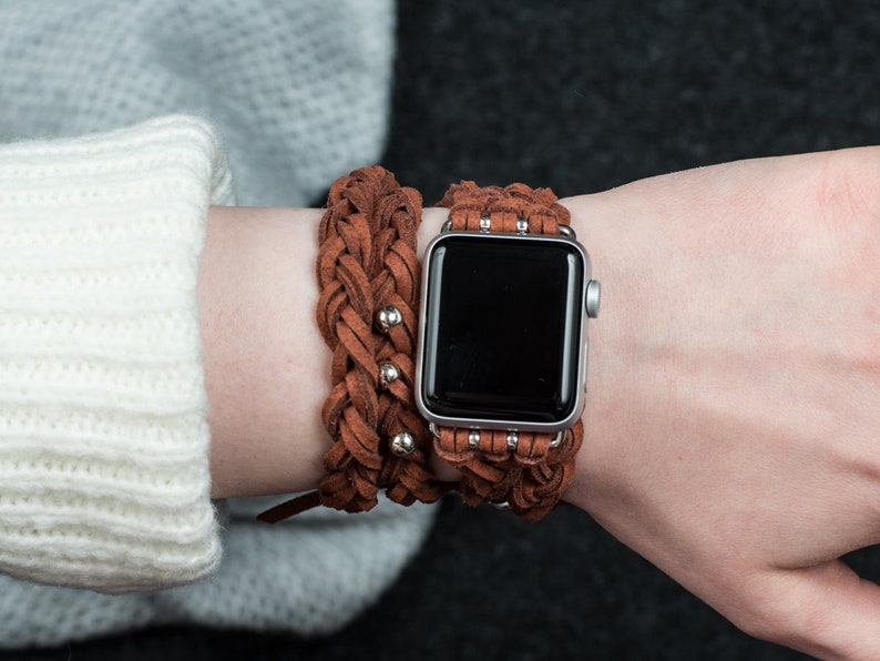 Apple Watch band 44mm apple watch brown leather strap iWatch image 0