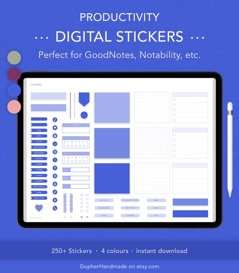 Digital Stickers for GoodNotes  Productivity Stickers  image 0