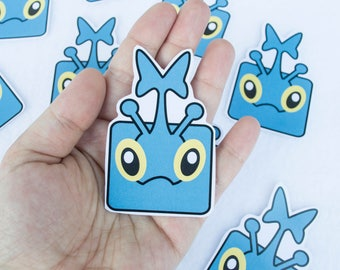 Heracross Kawaii Cute Anime Cartoon Character Sticker Stickers One of a Kind Unique Art Artwork Video Games Gamer Gaming Nerdy Handmade