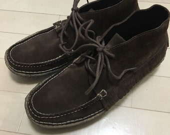 c10d033337 Ralph Lauren Purple Label fringe moccasins brown suede with crepe soles  size 9.5