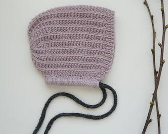 Handmade Luna baby bonnet