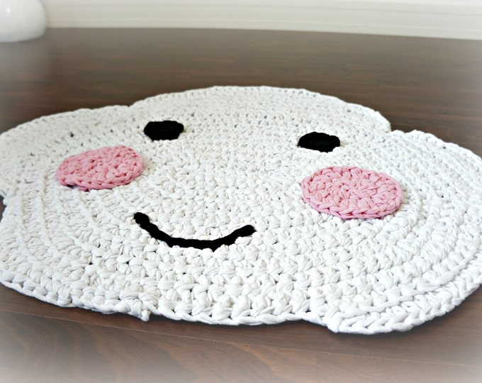 Happy Cloud - crocheted nursery area rug