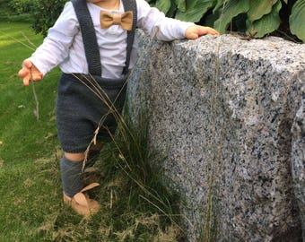 Handmade knitted merino wool baby shorts