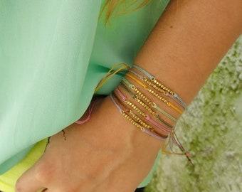 Set of 4 Summer Tiny bead Hemp Bracelets // Eco-friendly // Boho // Yoga // Hippie // Festival // Bohemian // Gypsy Jewelry