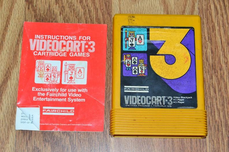 Fairchild Video Game Videocart-3 Cartridge Blackjack 1 or 2 Player