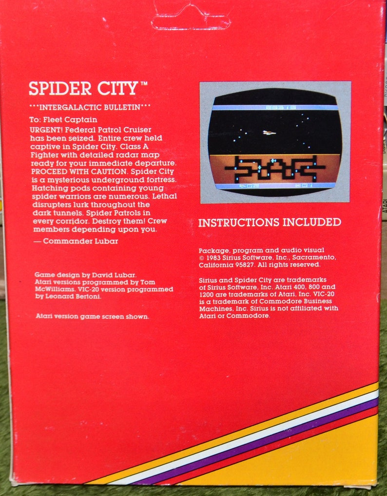 Vintage Sirius 1983 Spider City Game Cartridge Atari 400/800/1200xl in Box