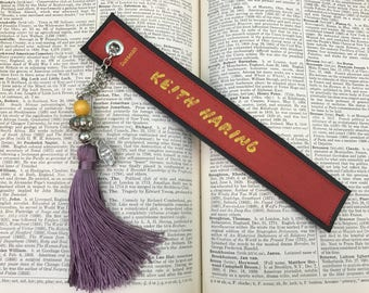Keith Haring - Leather Bookmark - Book Spine Bookmark - Unique Bookmark - Book Lover - Tassel Bookmark - Pop Art Bookmark