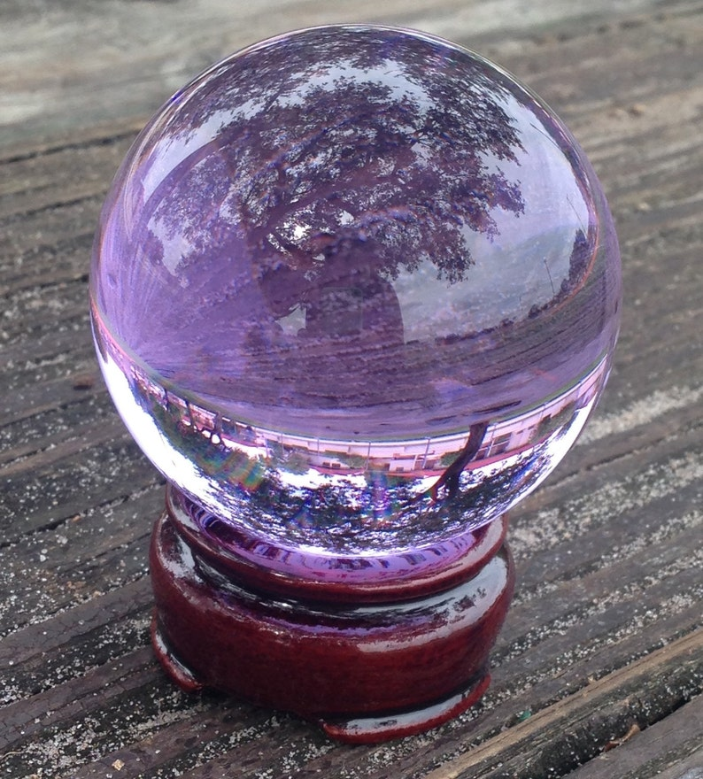 60mm Amethyst Purple Quartz Crystal Ball with Wooden Stand Healing Crystal  Divination Tool