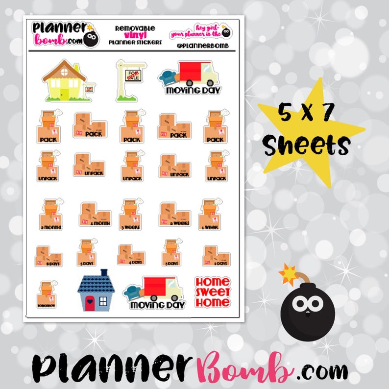 Vinyl Moving Planner Stickers image 0