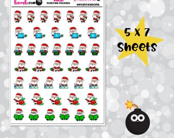 Vinyl Christmas Planner Santa  Stickers