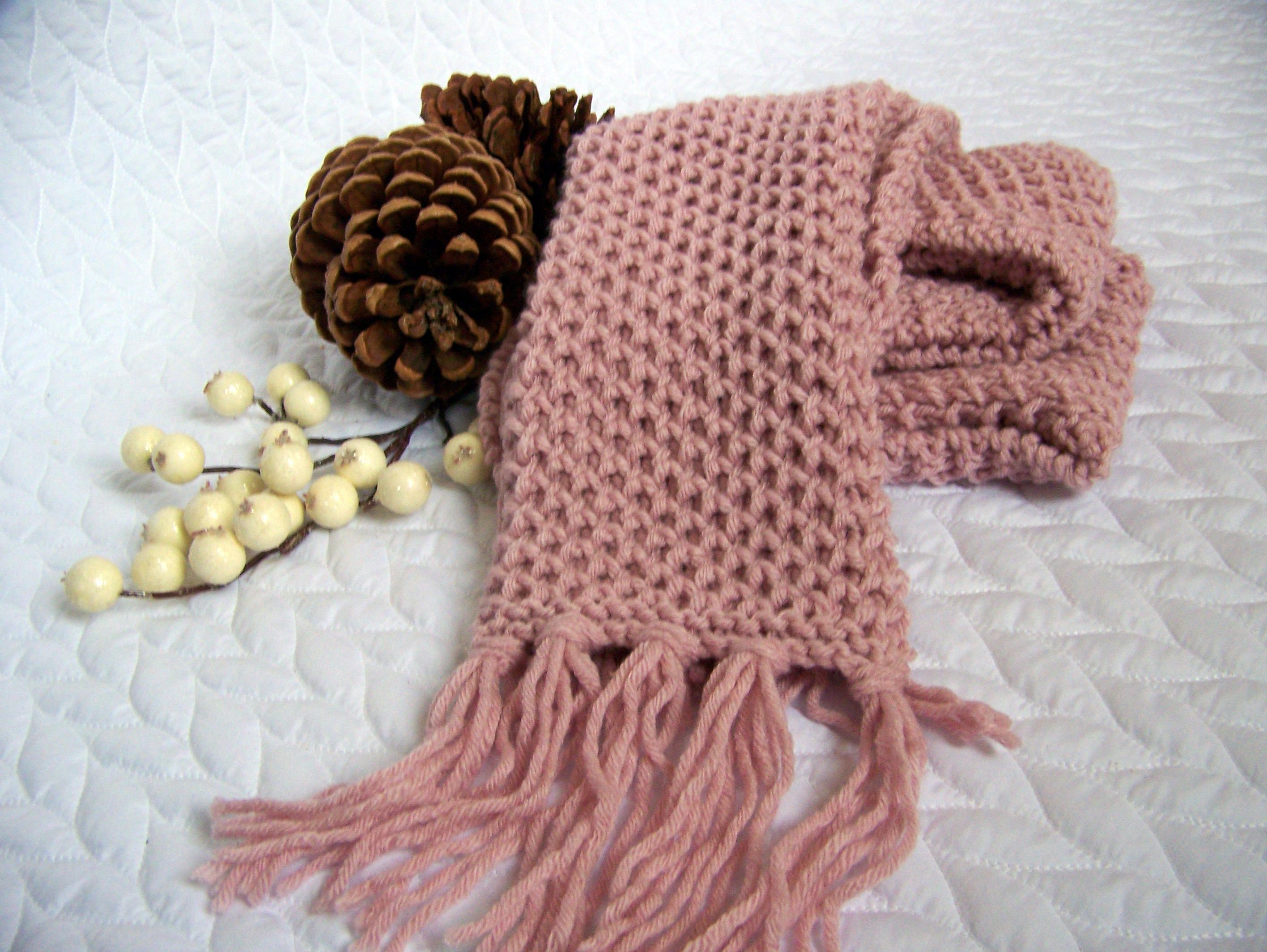 knitting pattern, Chunky Scarf, Pale Blush, knit scarf pattern, long ...