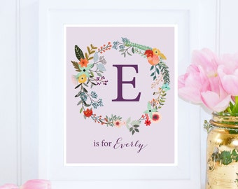 Everly, Custom Name Printable, E is for Everly, Nursery Printable, Most Popular Art, Name Wall Art, Girl Monogram, Purple Art