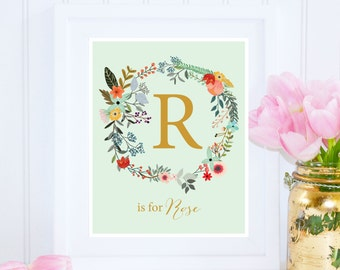Rose Print, R is for Rose, Custom Name Printable, Nursery Printable, Floral Nursery Decor, Name Wall Art, Girl Monogram, Instant Download
