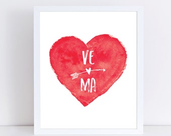 Anniversary Gift, Custom Initials Print, Gift for Newlyweds, Bride, Groom, Heart Printable, Valentine's Day Gift