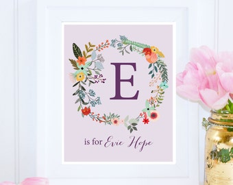 Evie Print, Custom Name Printable, E is for Evie Hope, Nursery Printable, Floral Nursery Decor, Name Printable, Instant Download