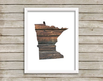Minnesota Print, State Wall Art, Minnesota Printable, Wood Poster, Digital 8x10 Print, Wall Art, INSTANT DOWNLOAD, Brown Print, Wooden Print