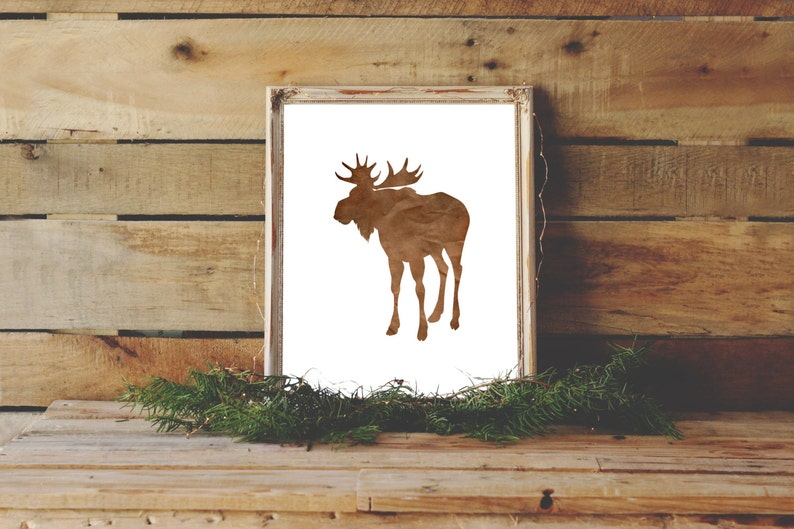 Moose Print Rustic Wall Art Best Selling Shops Most Sold Etsy