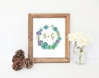Initials Printable, Succulent Art, Custom Initials Wreath Art, Custom Initials Print, Succulent Nursery, Initials Print, Spring Decor