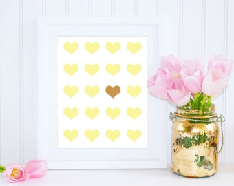 Heart Print, Yellow Art, 8x10 Instant Download, Wedding Art, Heart Art Print, Wedding Printable, Nursery Wall Art, Yellow and Gold Decor