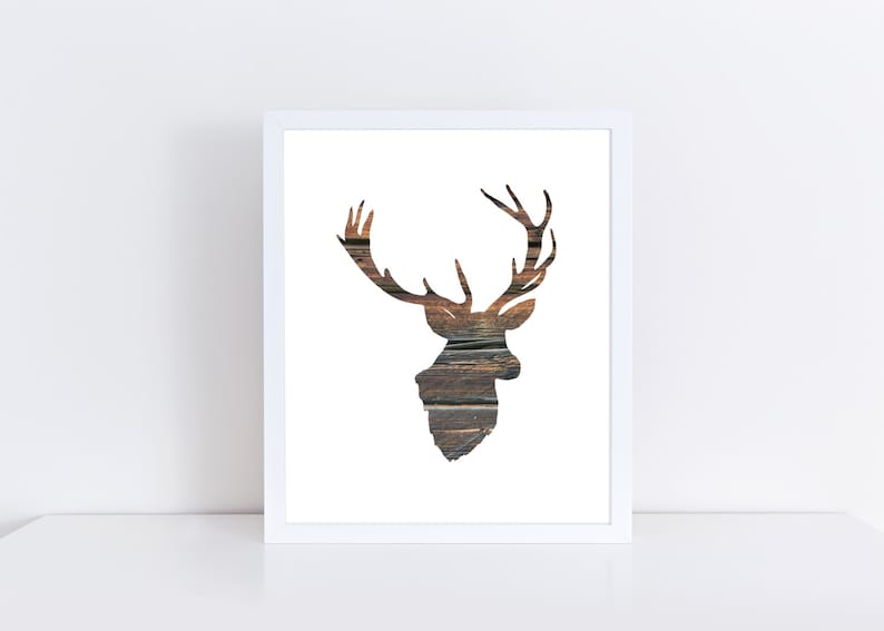 graphic about Printable Deer Head Silhouette called Deer Printable, Deer Silhouette Artwork, Wood Artwork, Deer Thoughts Print, Electronic Print, Fast Obtain, Deer Obtain, Getaway Decor, Wintertime Artwork