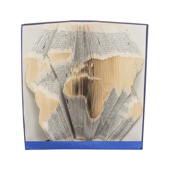 Book folding pattern for world map premium earth europe etsy gumiabroncs Image collections