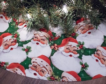 christmas tree skirt santa claus st nick tree skirt classic santa retro santa vintage santa 42 - Christmas Tree Skirts Etsy