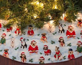 christmas tree skirt dog tree skirt bulldog dashund weiner dog dog tree skirt holiday decor dog christmas decoration 42