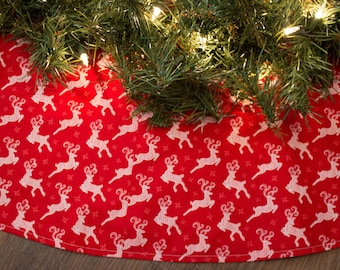 Christmas Tree Skirt-Handmade-Reindeer-Holiday Decor-Woods-Hunting-Christmas Decoration-Deer-Red-White-Tree Skirt-Cabin-Lodge-48-50""