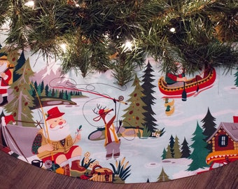 "Christmas Tree Skirt- Christmas Decoration-Santa Claus-Camping-Fishing-Reindeer-Canoeing-Canoe-Lake-Holiday Decor-42"""