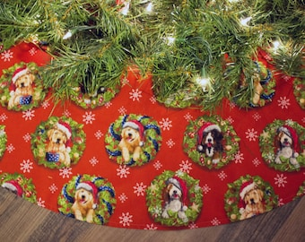 Christmas Tree Skirt-Tree Skirt-Dogs-Puppies-Wreath-Santa Claus-Snowflake Tree Skirt-Snow-Winter-Christmas Tree-Holiday Decor