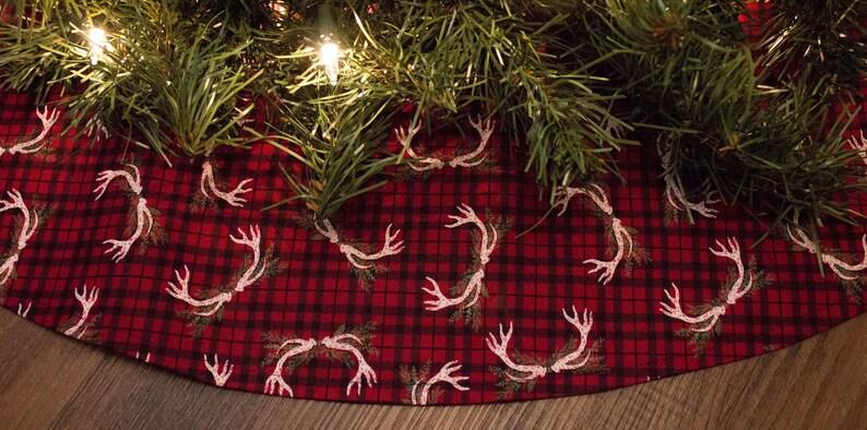 Christmas Tree Skirt-Deer Antlers-Deer Rack-Woodland Christmas-Cabin Decor-Holiday Decor-Christmas Decor-Buffalo Plaid Deer Tree Skirt-36
