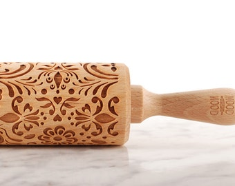 ROSEMALING (NORWEGIAN FOLK) - embossed, engraved rolling pin for cookies - perfect gift idea