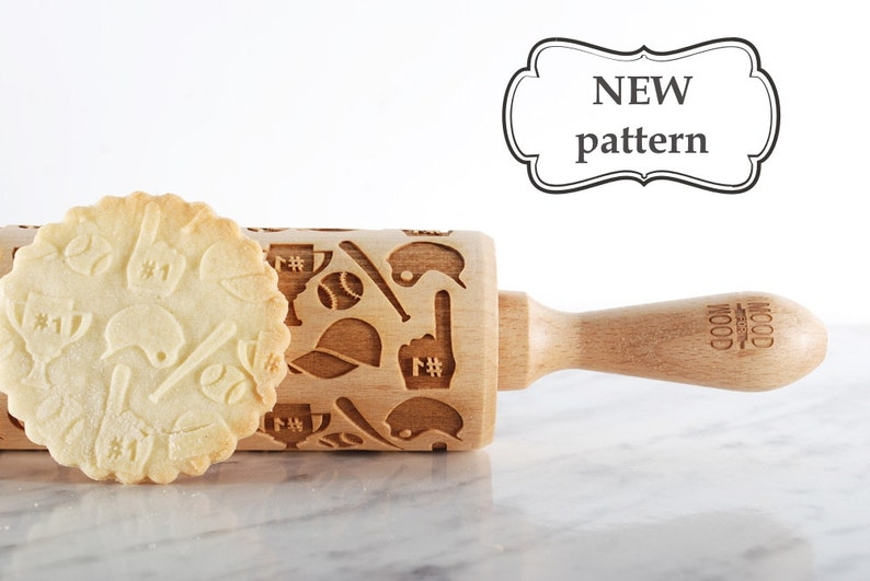 engraved rolling pin for cookies BASEBALL MIX embossed