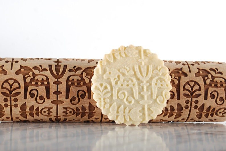 embossed DALA HORSE engraved rolling pin for cookies