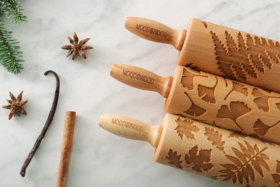 perfect gift idea set of 3 MINI embossed engraved rolling pin for cookies PETIT FRANCAIS