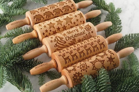 JOYEUX NOËL - lot de 5 MINI embossé, gravé rouleau à pâtisserie pour les cookies - parfaite idée de cadeau